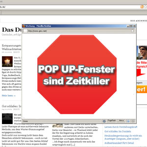 Zeitmanagement: Pop-Up Fenster